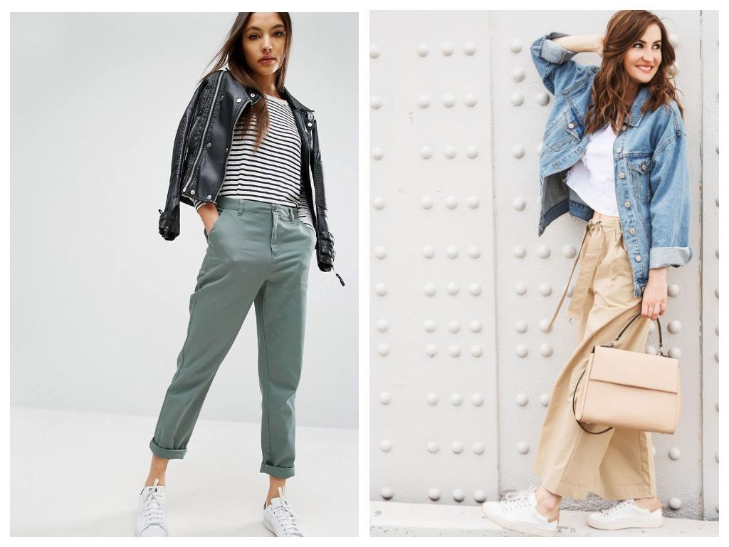 Лучше всего комбинировать брюки-чиносы с укороченными жакетами, куртками и свитшотами, не скрывая их дизайна