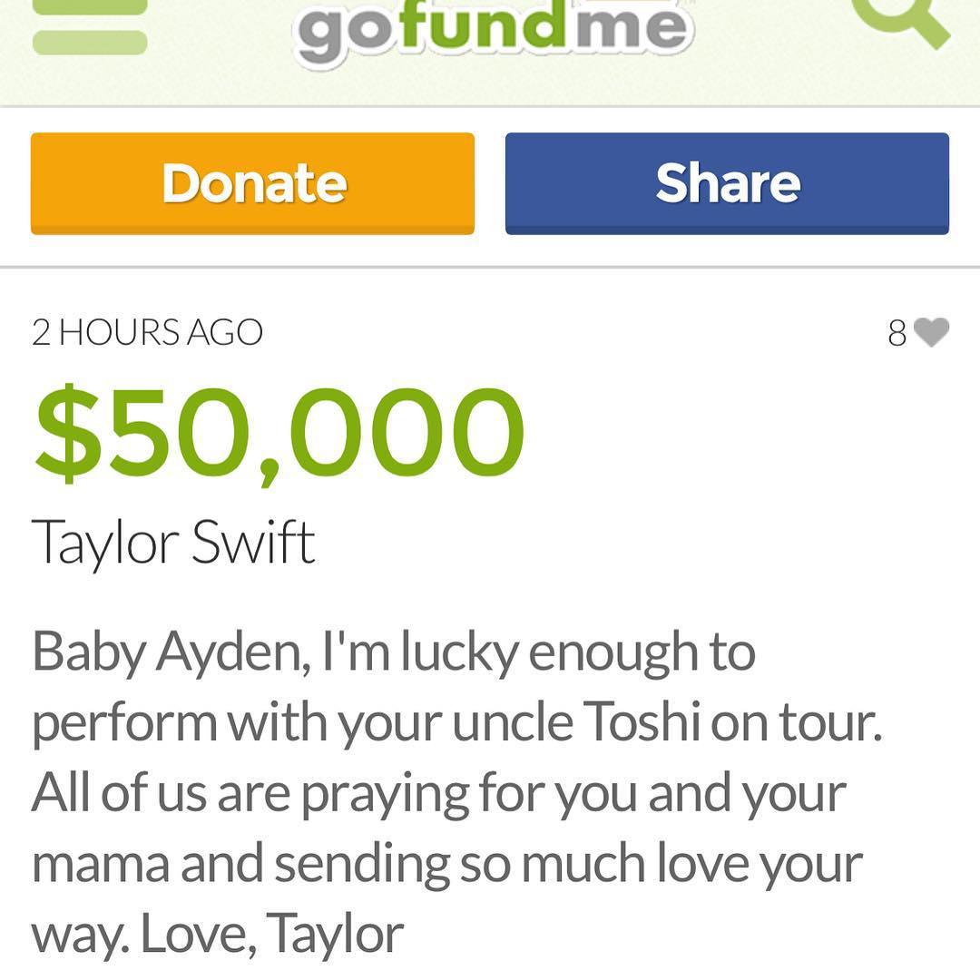 Перечислила деньги Тейлор