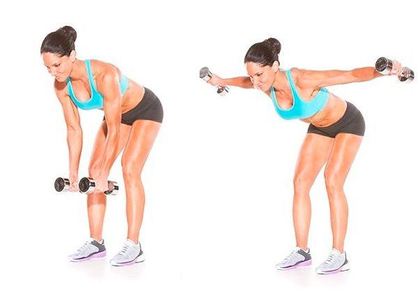 Разводка рук с гантелями для мышц спины
