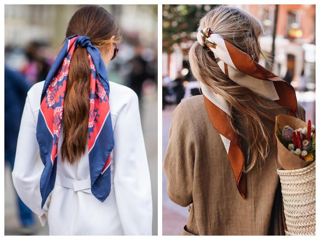 Если вы решили повязать платок на хвост, выбирайте его в контрастных оттенках