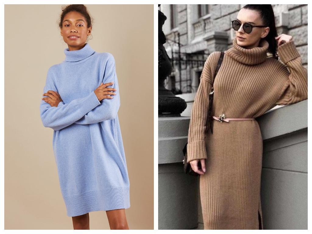 Платье-свитер может быть очень интересным, если дополнить его лаконичными аксессуарами