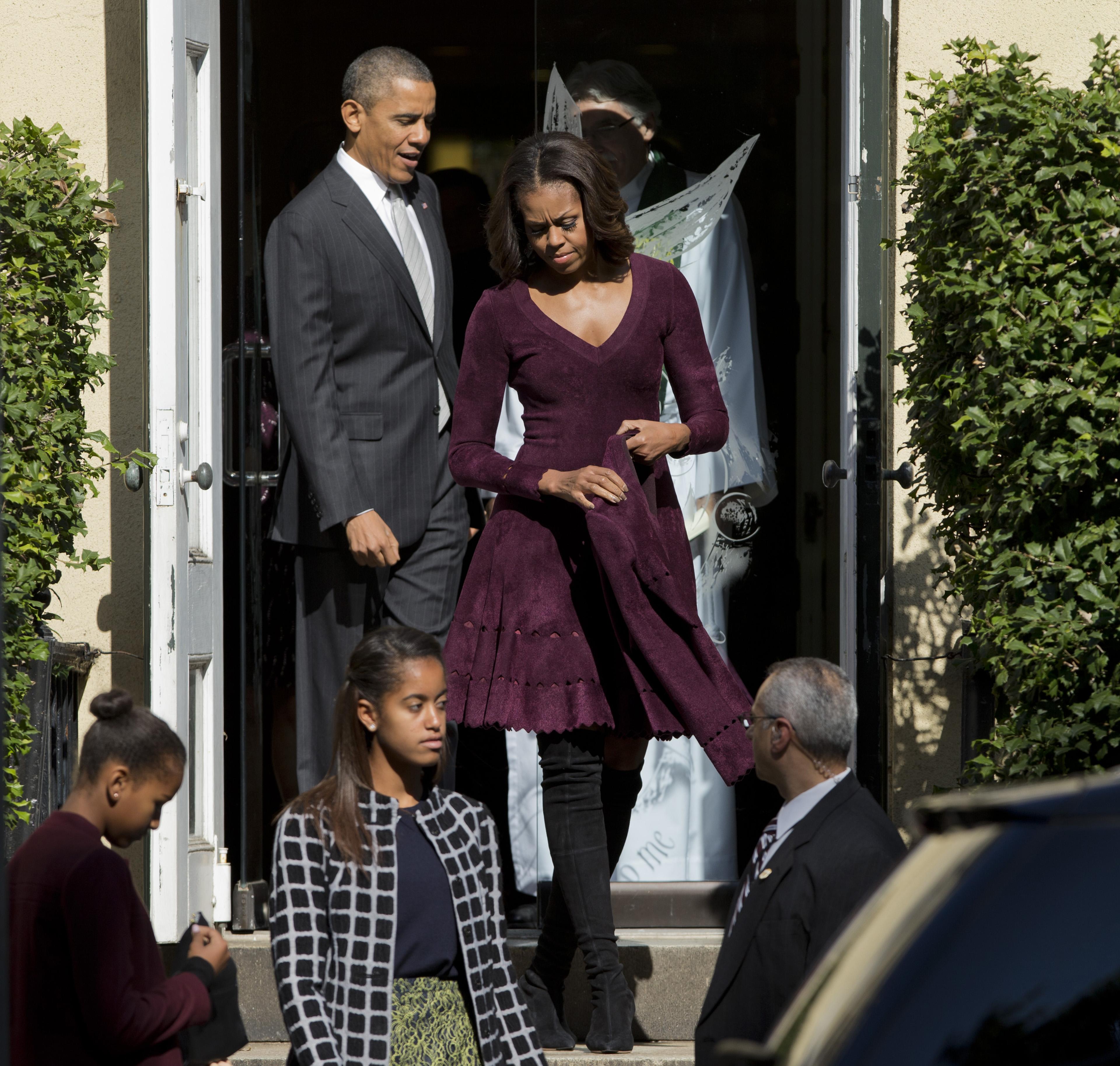 Президент США Барак Обама с семьей побывал на воскресной службе в церкви
