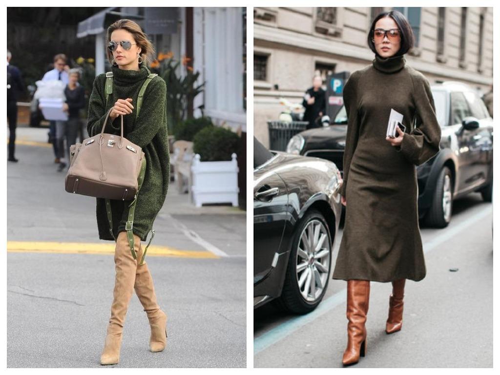 Как сочетать платье и ботфорты?