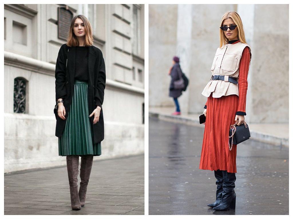 Как носить миди-юбку и ботфорты?