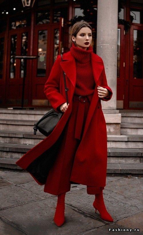 Осенний красный образ с кюлотами и пальто