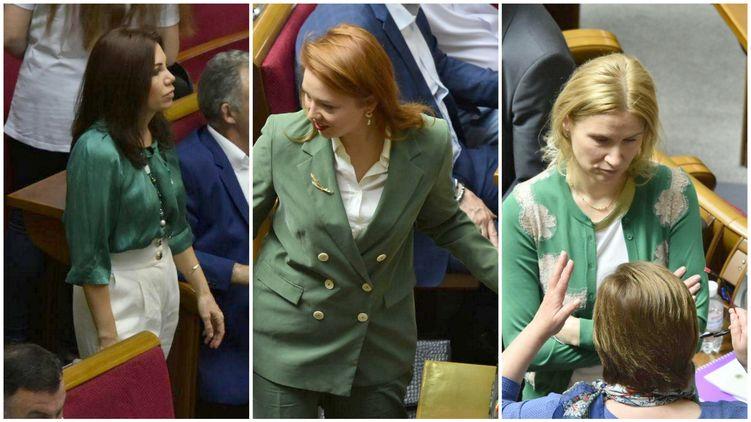 Нардепы Виктория Сюмар, Алена Шкрум и Елена Кондтратюк сегодня пришли в парламент в зеленом, фото: Аркадий Манн,