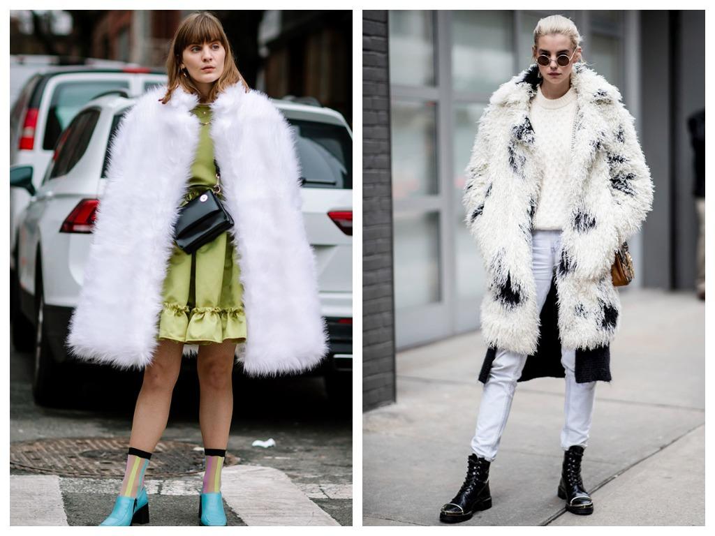 Пушистое пальто выбирайте нарочито гипертрофированных объемов