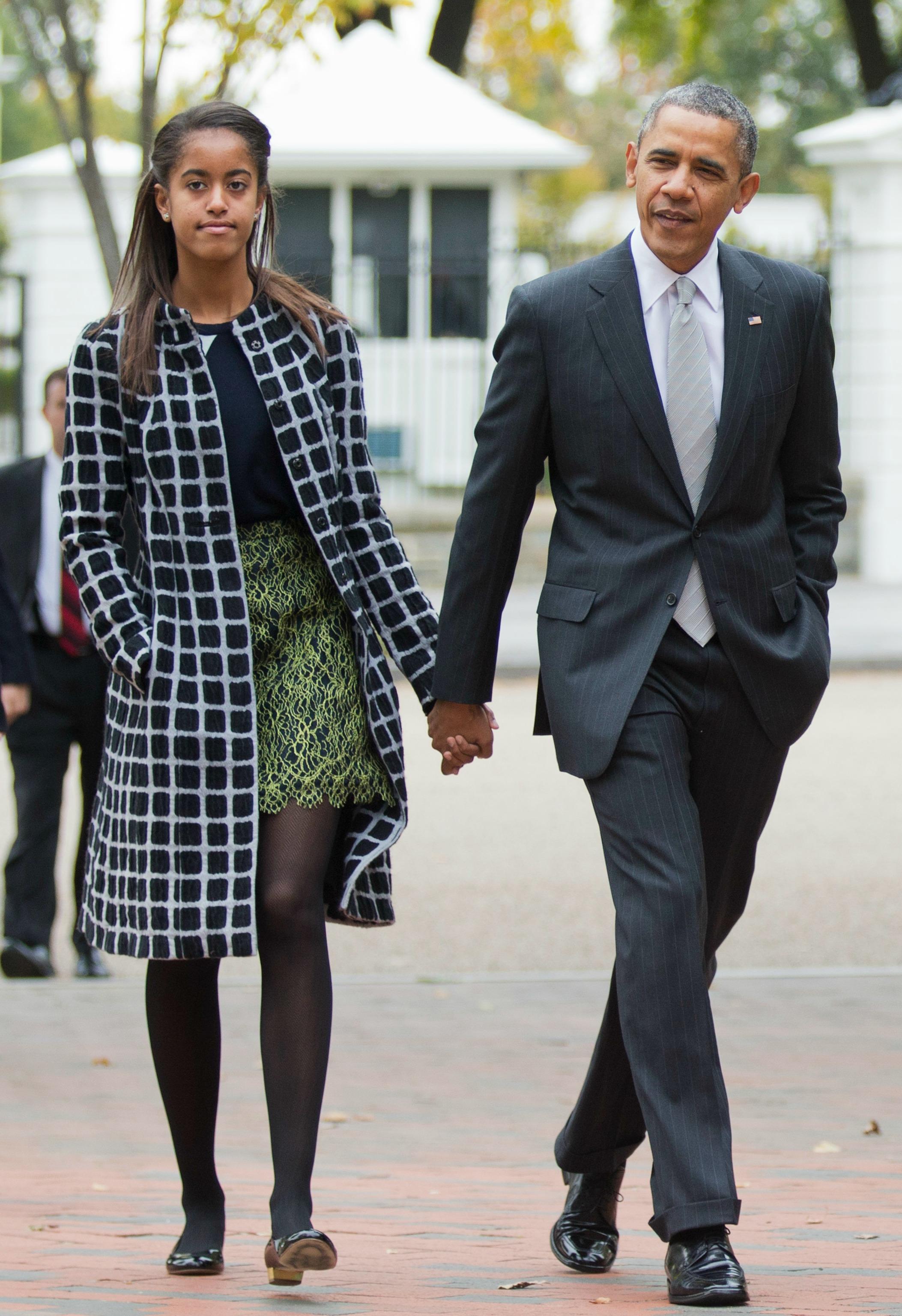 Президент США Барак Обама и его дочь Малия