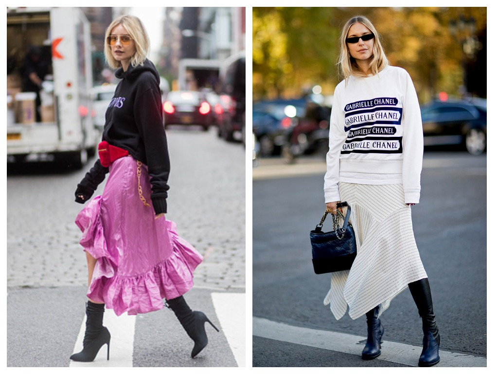 Свитшот сочетайте с юбками в стиле модных школьниц американских колледжей