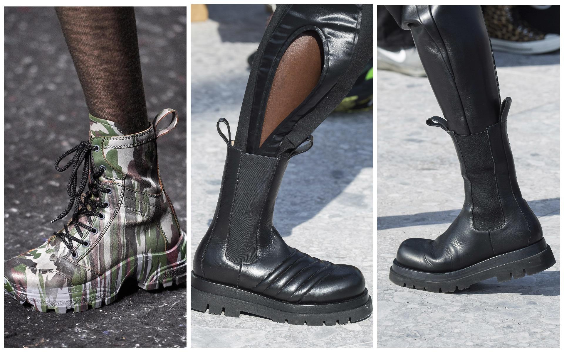 Ботинки на грубой подошве сочетай с женственным верхом