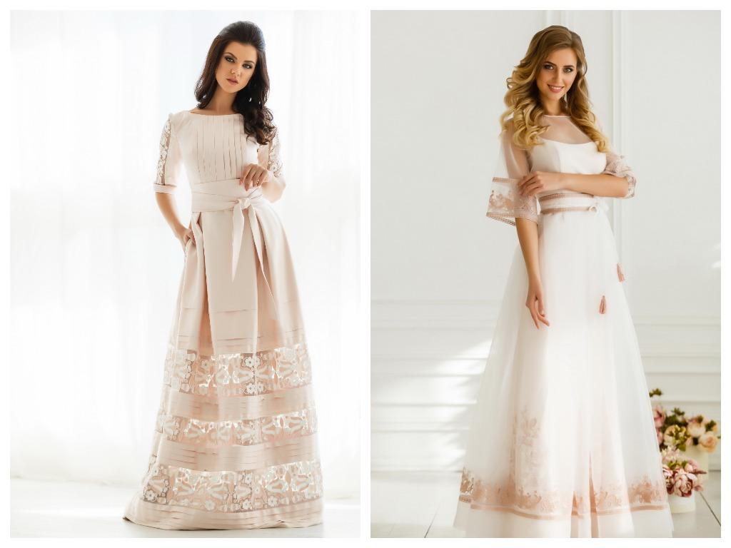 Все еще популярны свадебные платья в пастельных тонах, таких как бледно розовый, пудровый, дымчатый