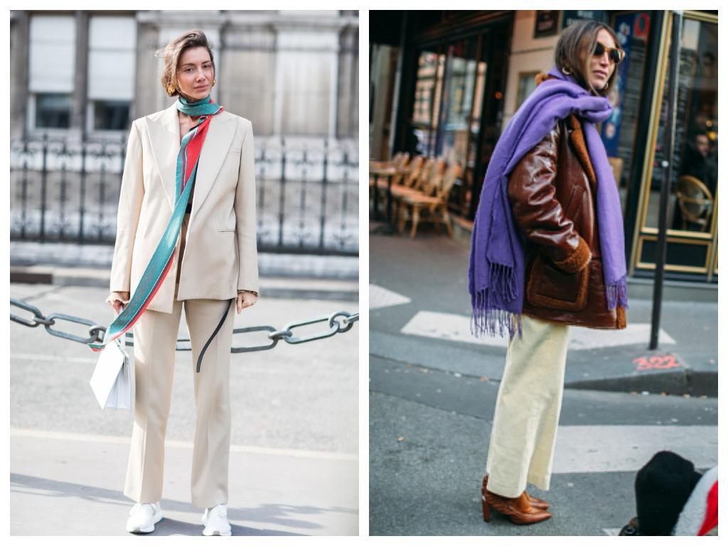 Модные способы как завязь шарф - забросить один край назад в богемной манере