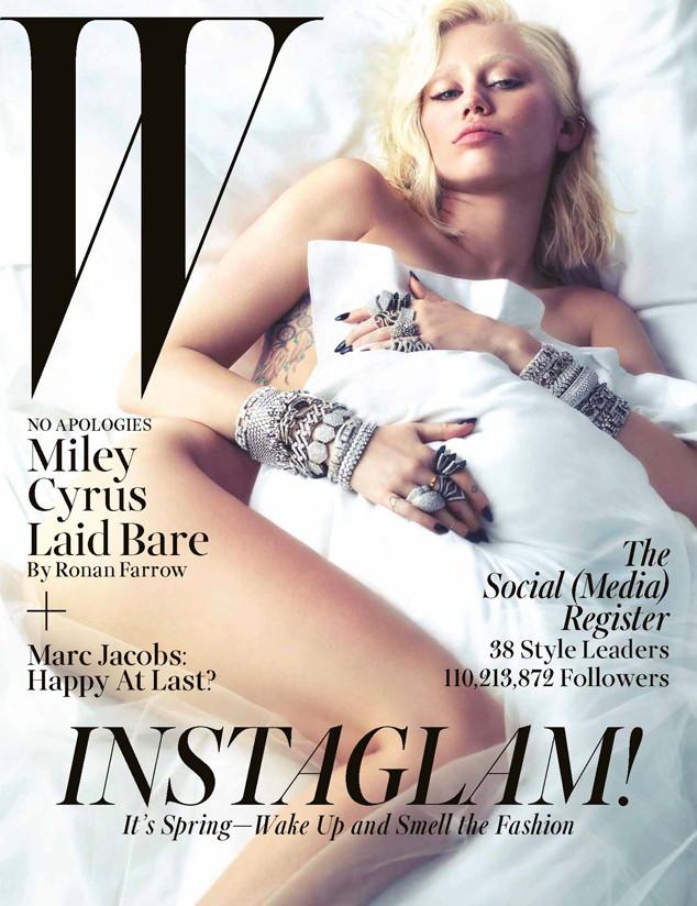 Певица Майли Сайрус осталась без бровей на обложке W Magazine