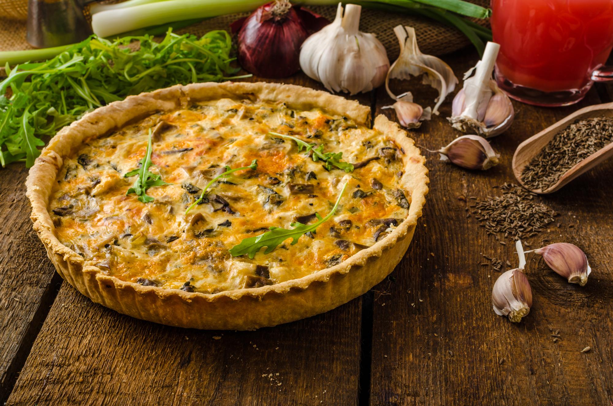 Грибной киш с сыром: рецепт вкусного пирога
