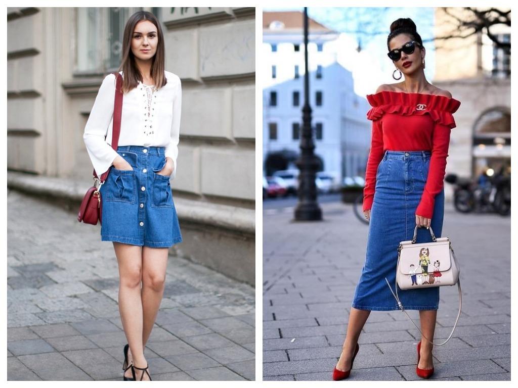 Джинсовую юбку с завышенной талией нужно сочетать с облегающими вещами и жакетом прямого кроя