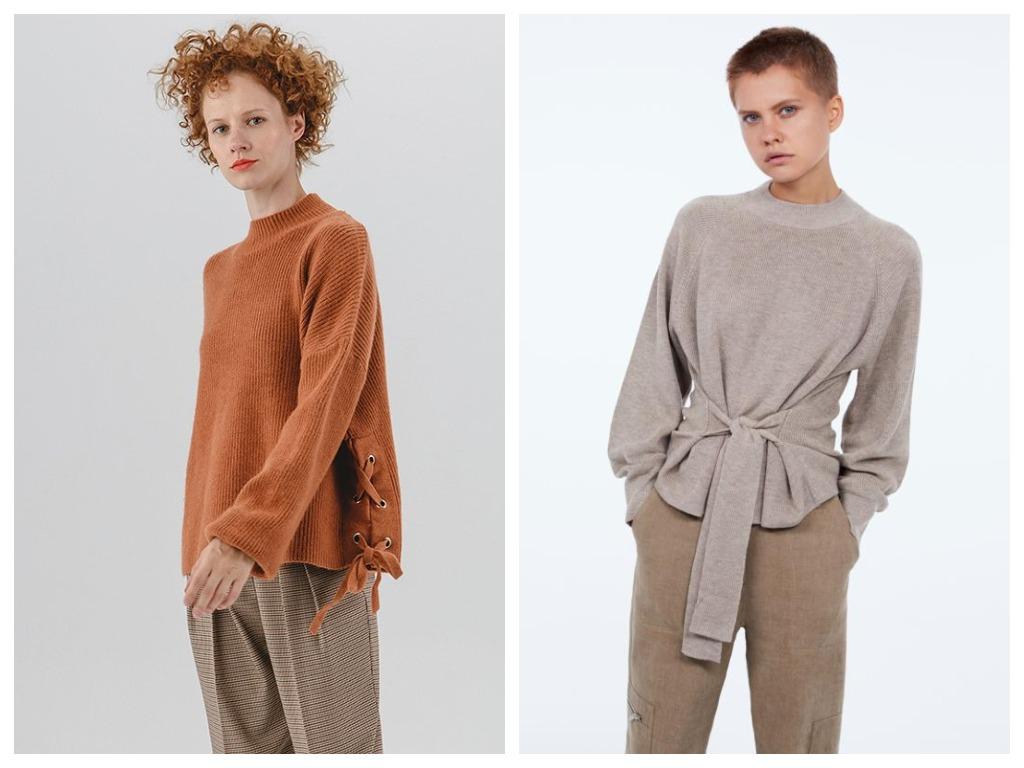 Завязки должны стать акцентом образа - выбирайте свитера с декором в нестандартных местах