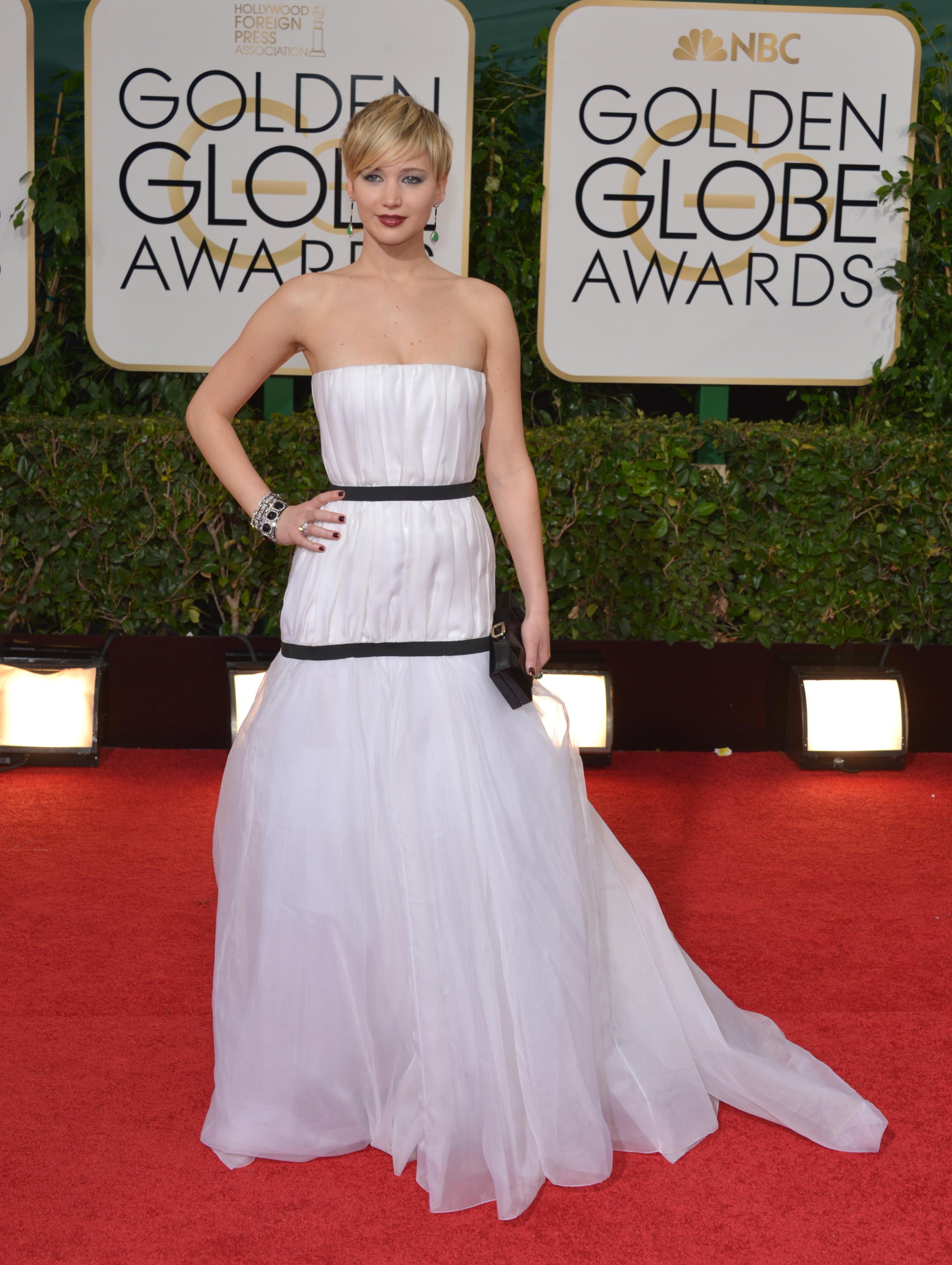 Для церемонии Золотой глобус 2014 Дженнифер Лоуренс выбрала платье Dior, которое стало поводом для шуток