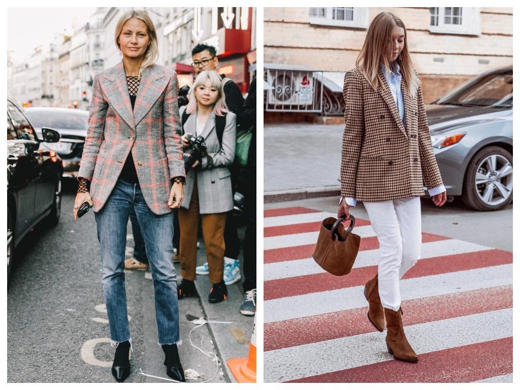 Приталенный блейзер подчеркивайте широким поясом и носите с обувью в духе 70-х