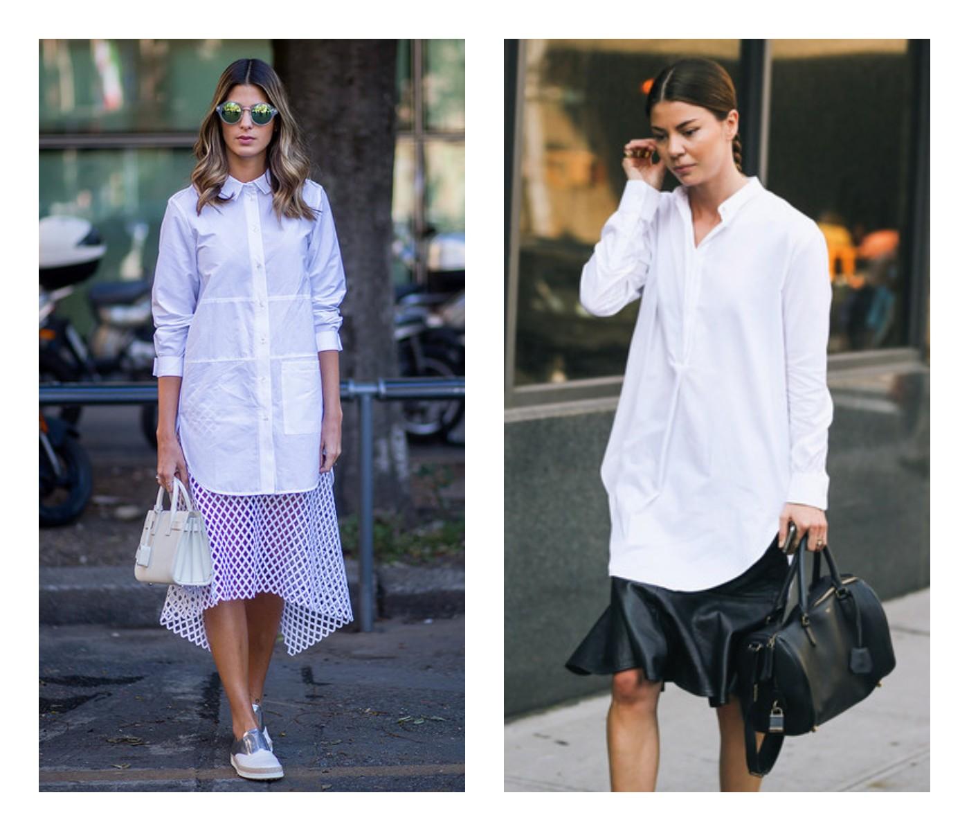 Если сочетаете рубашку с юбкой, то лучше выбирать вариант миди