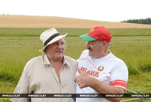 Депардье и Лукашенко (справа)