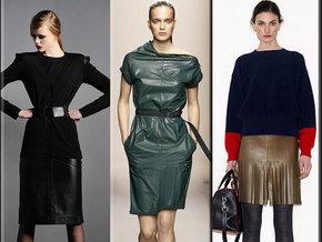 В этом сезоне кожаные вещи выглядят очень женственно благодаря...