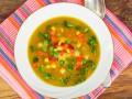 Постный суп с кукурузой и горошком