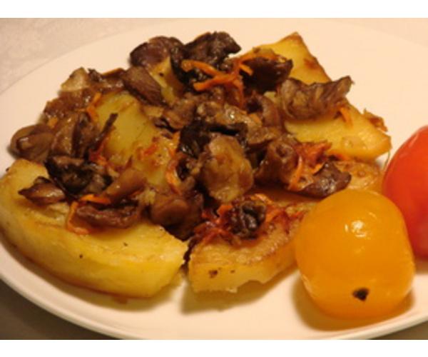Рецепт                  Тушеная картошка с грибами