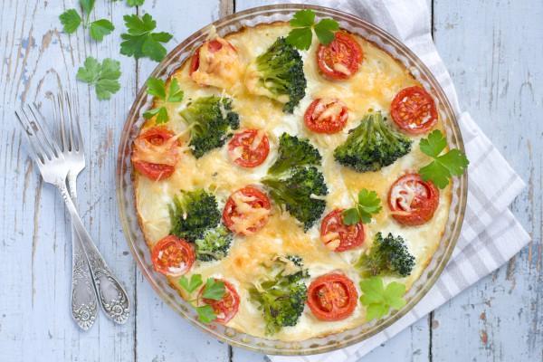 Рецепт                  Запеканка с брокколи и помидорами