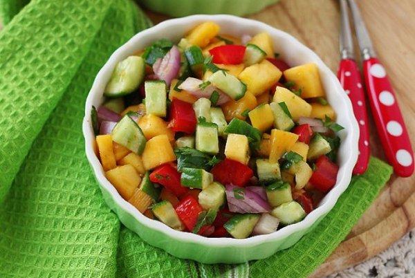 Рецепт                  Сальса из манго, огурцов и сладкого перца