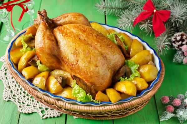 Курица с яблоками на Новый год