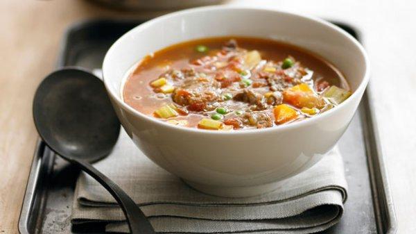 Рецепт                  Густой овощной суп с говядиной