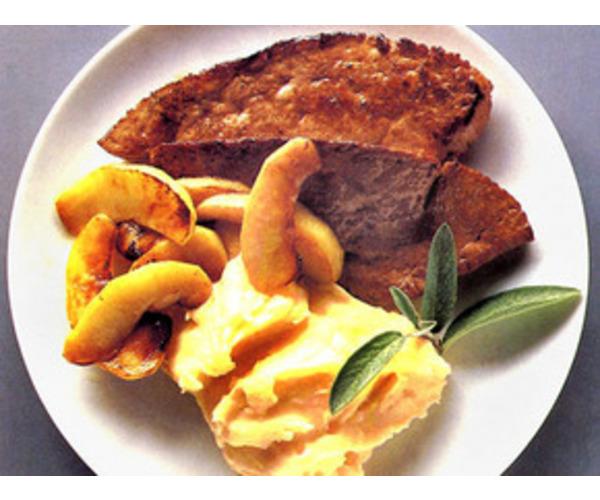 Рецепт                  Телячья печень с яблоками