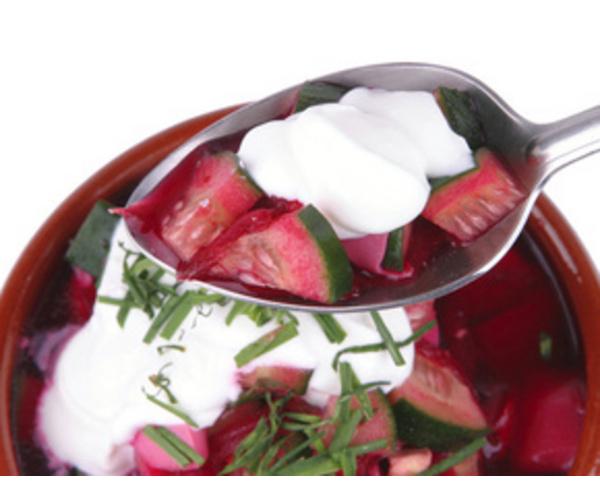 Рецепт                  Холодный суп со свеклой и огурцами