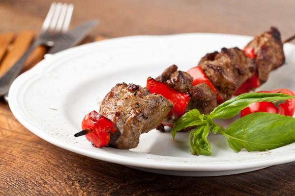 Рецепт                  Шашлык из говядины с помидорами