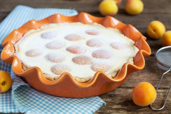 Рецепт                  Песочный пирог с творогом и абрикосами