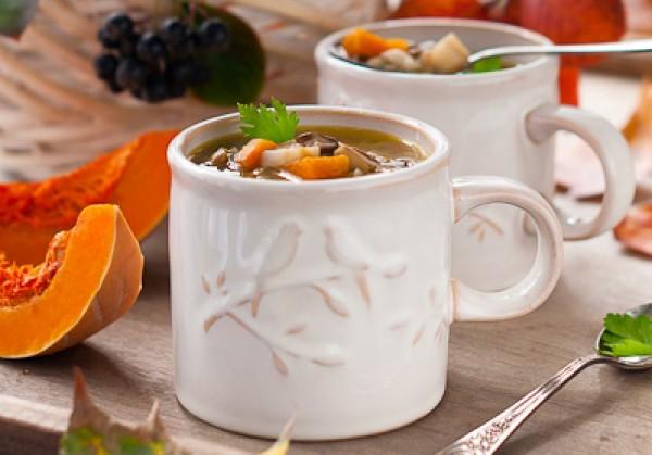 Рецепт                  Согревающий осенний суп с грибами и тыквой