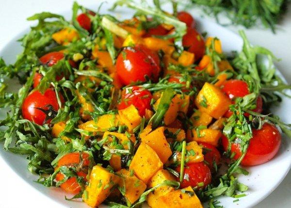 Рецепт                  Теплый салат из тыквы с помидорами черри