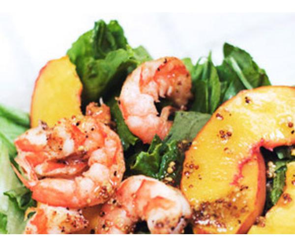 Рецепт                  Креветочный салат с персиками