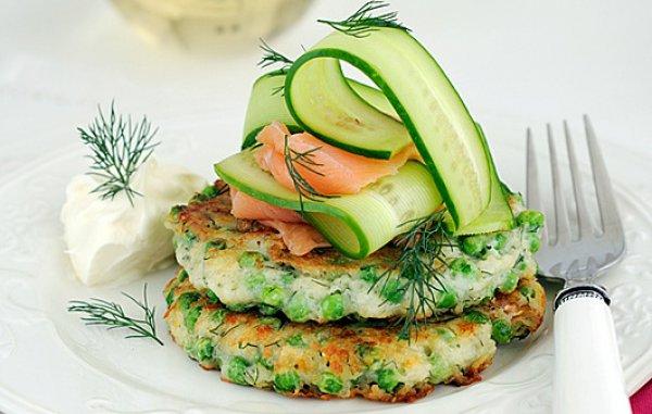 Рецепт                  Оладьи с зеленым горошком и укропом