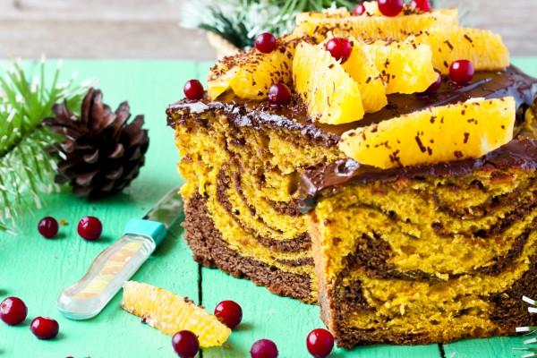 Шоколадно-тыквенный кекс на Новый год и Рождество