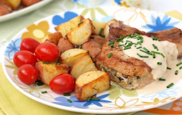 Рецепт                  Фаршированная грибами свинина с горчичным соусом