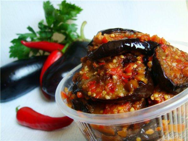 Рецепт                  Острые баклажаны на зиму: Рецепт приготовления