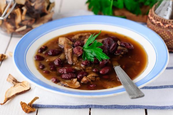 Рецепт                  Постный суп из грибов и фасоли