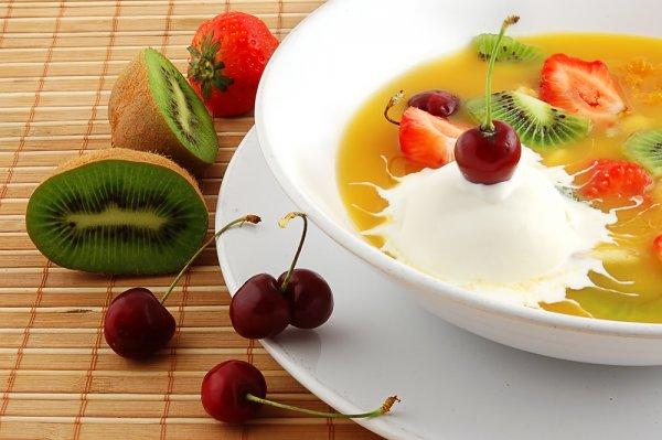 Рецепт                  Фруктовый суп с пломбиром