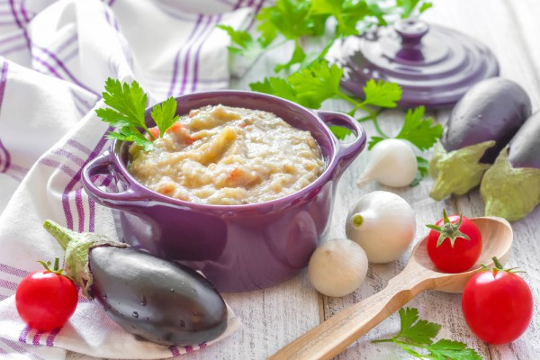 Рецепт                  Пюре из печеных баклажанов