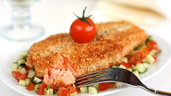 Рецепт                  Рыбные стейки в панировке из кунжута