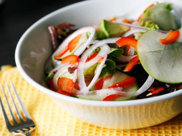 Рецепт                  Постный овощной салат с зеленым яблоком
