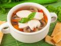 Куриный суп с баклажанами и грибами