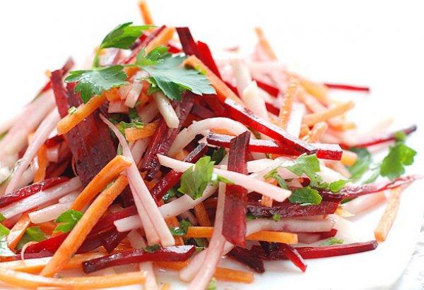 Рецепт                  Салат из капусты, моркови и свеклы