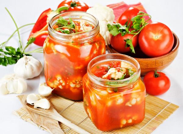 Рецепт                  Цветная капуста в томатном соусе на зиму